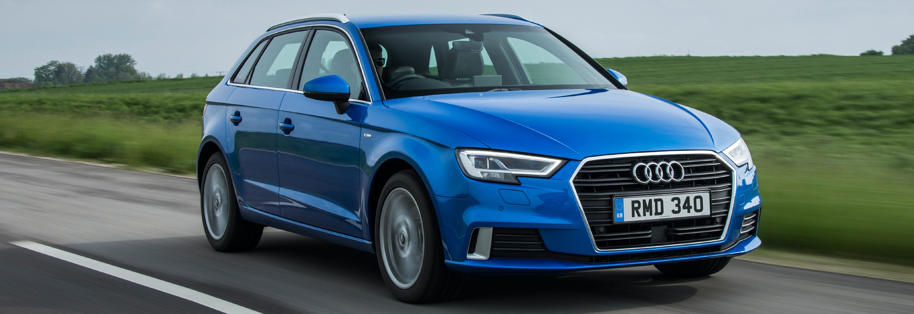 2018 audi a3 sportback blue driving front