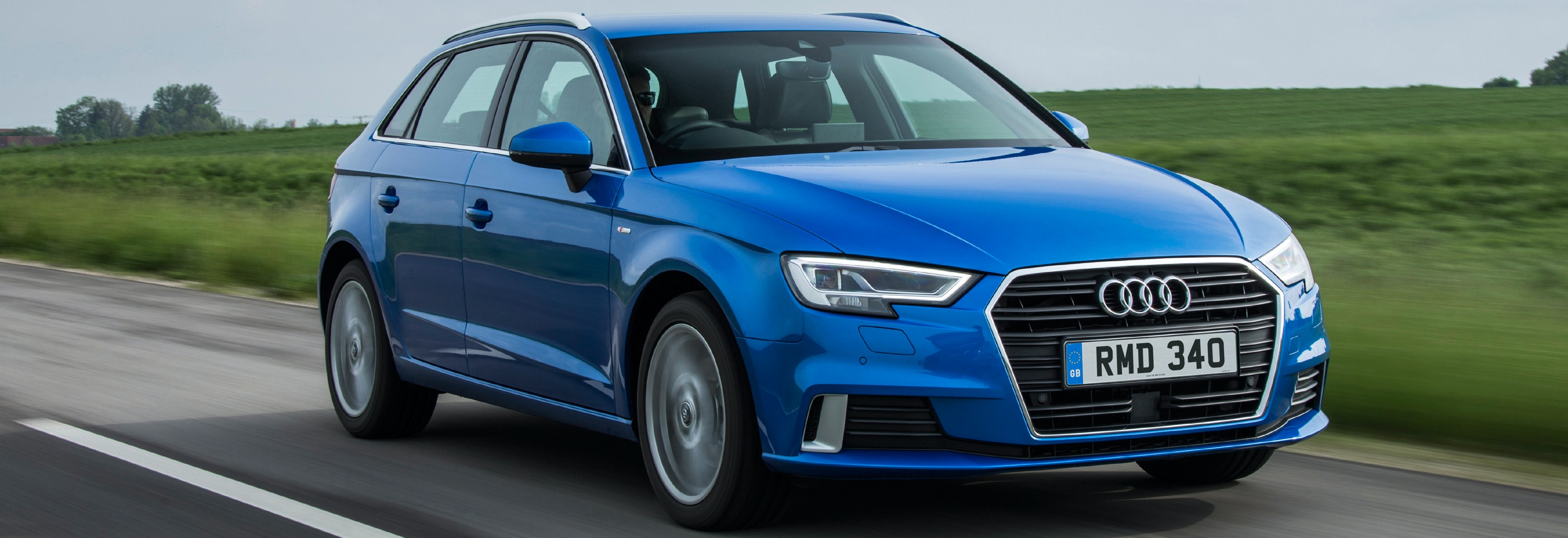 Audi A3 Blue Driving Front