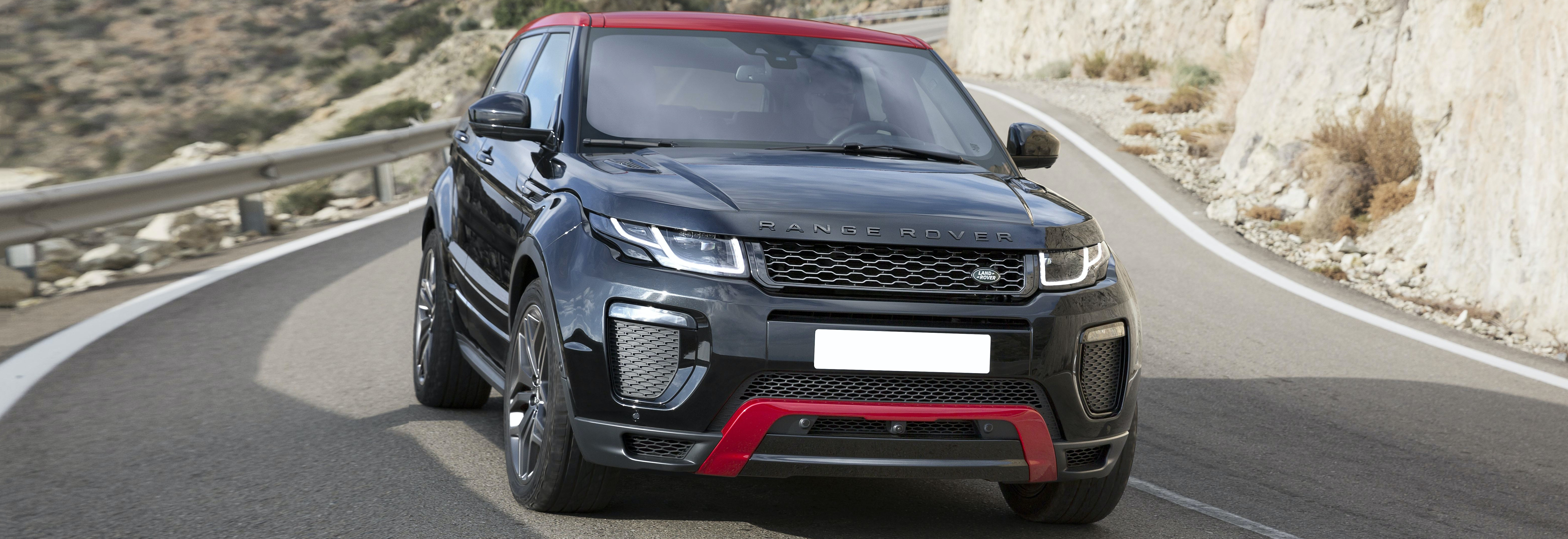 2018 range rover evoque black driving front