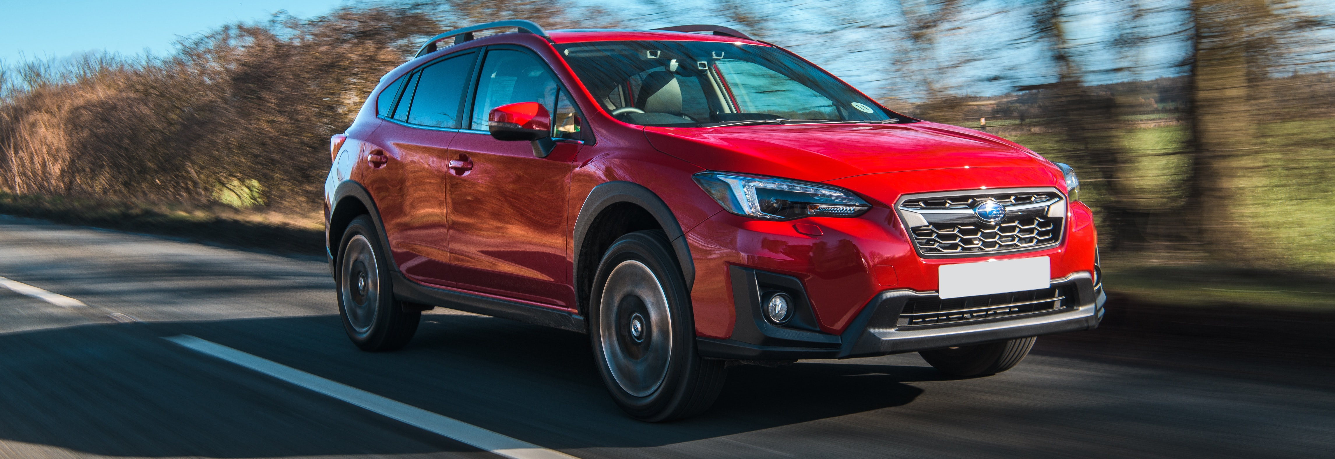 2018 subaru xv red front driving